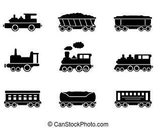 set train icons - set of isolated train icons on white...