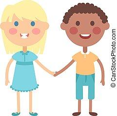 Hände, vektor, Besitz, Kinder
