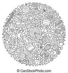 Set of Italian food cartoon doodle objects, symbols and items