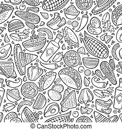 Cartoon cute hand drawn Mexican food seamless pattern. Line...