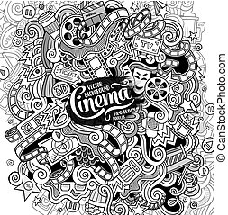 Cartoon doodles cinema frame design - Cartoon cute doodles...