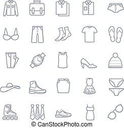 Clothes icons, stock vector