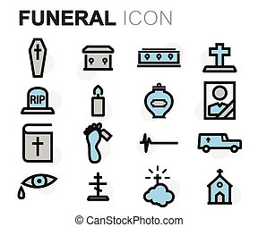 Vector flat line funeral icons set on white background