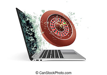 The concept of online casinos, takes off from the laptop isolated on white background. 3d illustration