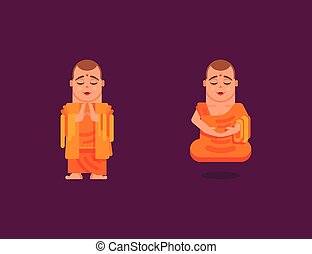Buddhist monk is meditating in a flat style - Stock vector...