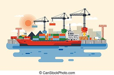 Vector hafen in flat style - Stock vector flat style...