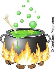 Halloween cauldron vector illustration. - Halloween Witch...