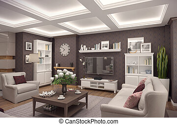 3D rendering of living room of a classic appartment - 3D...