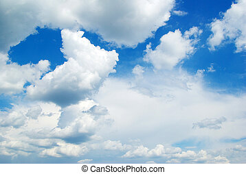 sky  - Blue sky with clouds and sun