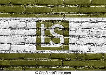 Flag of Lees Summit, Missouri, USA, painted on brick wall