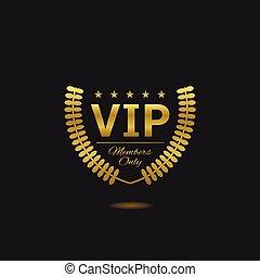 Golden Vip label - Vip label Members only Golden laurel...
