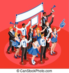 Election Infographic Cheering Crowd Vector Isometric People...