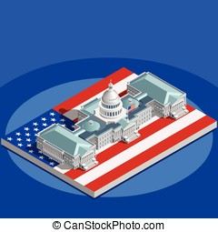 Election Infographic Congress Vector Isometric Building -...