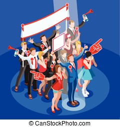 Election Infographic Convention Hall Vector Isometric People...