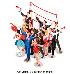 Election Infographic Crowd Conference Vector Isometric...