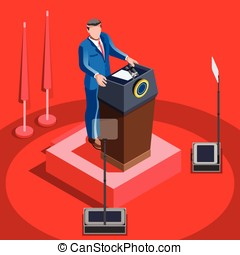 Election Infographic Lecture Hall Vector Isometric People -...