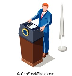 Election Infographic Lecture Theatre Vector Isometric People...