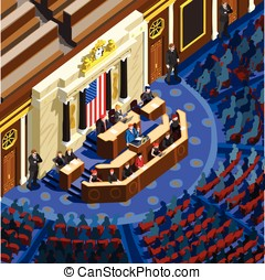 Election Infographic Parliament Hall Us Vector Isometric...