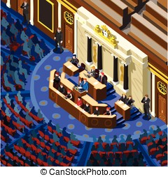 Election Infographic Parliament Hall Vector Isometric People...