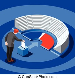 Election Infographic Parliament Vote Vector Isometric People...