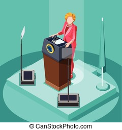 Election Infographic Politic Work Vector Isometric People v...