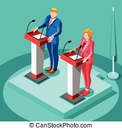 Election Infographic Political Rally Vector Isometric People...
