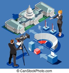 Election Infographic Presidential Vector Isometric Building...