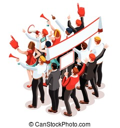 Election Infographic Theatre Crowd Vector Isometric People -...