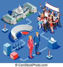 Election Infographic Us Political Vector Isometric People -...