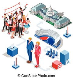 Election Infographic Us Politics Vector Isometric People -...