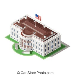 Election Infographic Us White House Vector Isometric...