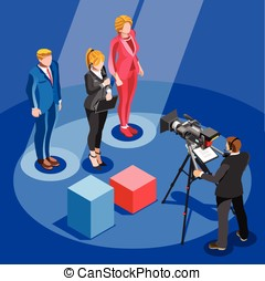 Election News Infographic Candidate Vector Isometric People...