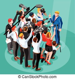 Election News Infographic Tribune Vector Isometric People -...