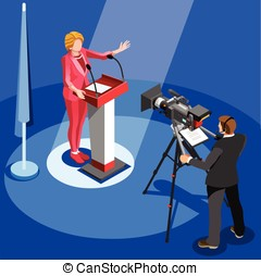 Election News Infographic Us Spokesperson Vector Isometric...