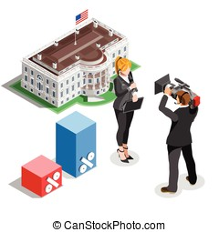 Election News Infographic White House Us Vector Isometric...