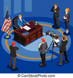 President Desk Vector Isometric People - Election...
