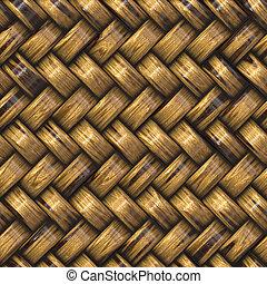basket weave - heavy brown weave of brown wicker rings....