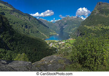 Aerial view of scenic Geirangerfjord. Norway