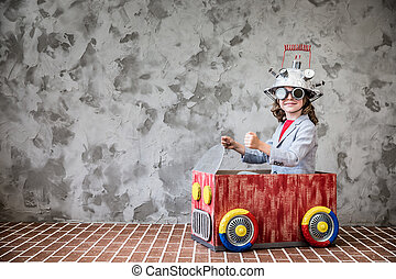 Child with toy virtual reality headset - Portrait of young...