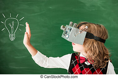 Schoolchild with virtual reality headset in class - Back to...