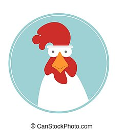 Cartoon rooster - Head of cartoon rooster isolated on...