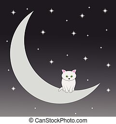 Happy cat who sits on the moon.