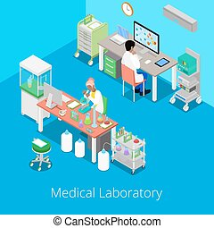 Isometric Laboratory Analysis with Medical Staff and Chemical Research. Vector illustration