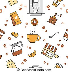 Coffee Time Line Art Thin Vector Seamless Pattern Background with Coffee Cups and Beans