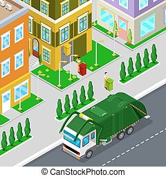 Garbage Removal with Isometric People and City Garbage Truck. Vector illustration
