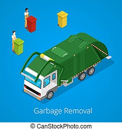 Garbage Removal with Isometric People and City Garbage Truck