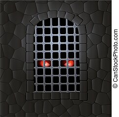 stone wall and red eyes - stone wall, window-arch with the...