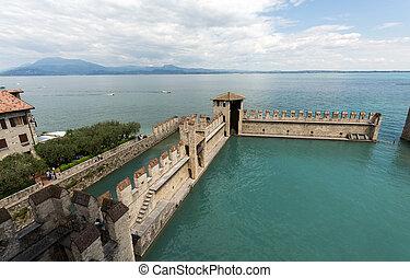 Backwater inside the Scaliger Castle - medieval port...