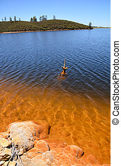 red polluted lake - copper red polluted lake mine in Gossan...