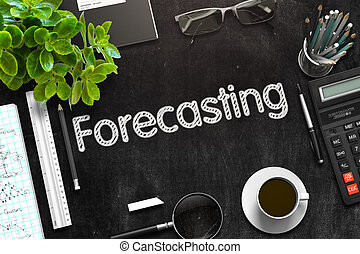 Forecasting - Text on Black Chalkboard. 3D Rendering.